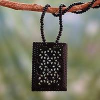 Ebony wood necklace, 'Mughal Mystique' - Ebony wood necklace