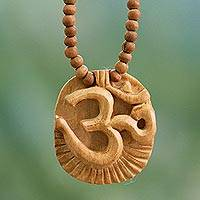 Wood pendant necklace, 'Vedic Om' - Wood pendant necklace