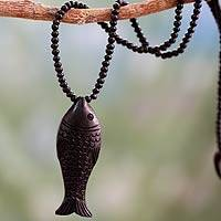 Ebony wood pendant necklace, 'Matsya I' - Ebony wood pendant necklace