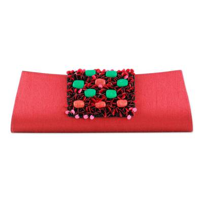 Beaded clutch handbag, 'Red Radiance' - Beaded clutch handbag