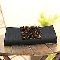 Beaded clutch handbag, 'Midnight Radiance' - Beaded clutch handbag