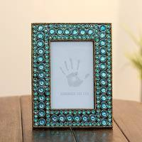 Bejeweled photo frame, 'Aqua Glitz' (4x6) - Dazzling Aqua Photo Frame from India (4x6)