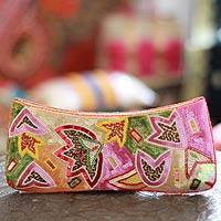 Beaded clutch evening bag, 'Holi Festival of Colors'