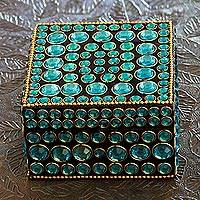 Bejeweled box, 'Aqua Glitz'