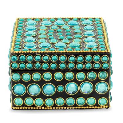 Bejeweled box, 'Aqua Glitz' - Bejeweled box