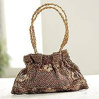 Beaded evening bag, 'Mughal Treasure' - Beaded evening bag