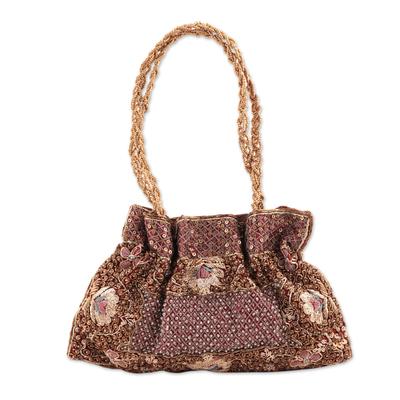 Beaded evening bag, 'Mughal Treasure' - Beaded evening bag