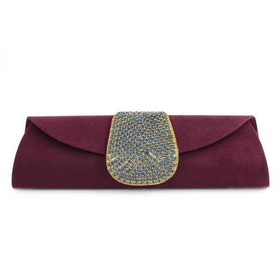 Beaded clutch handbag, 'Burgundy Starlight' - Embellished Clutch Evening Bag in Burgundy from India