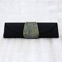 Beaded clutch evening bag, 'Starlight' - Beaded clutch evening bag