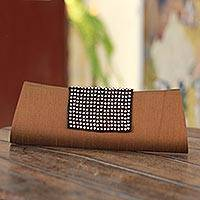 Beaded clutch evening bag, 'Golden Allure' - Beaded clutch evening bag