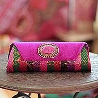 Beaded clutch handbag, 'Glamorous Fuchsia' - Beaded clutch handbag