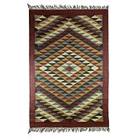 Jute rug, 'Earth Stars in Flight' (4x6) - Jute Area Rug (4x6)