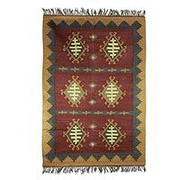 Jute rug, 'Six Scarabs' (4x6) - Jute rug