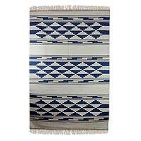 Cotton rug, 'Blue Ziggurat' (4x6) - Cotton rug
