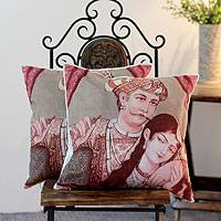 Cotton cushion covers, 'Mughal Romance' (pair) - Cotton cushion covers