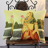 Cotton cushion covers, 'A Lover's Return' (pair) - Cotton cushion covers