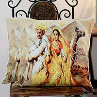 Cotton cushion covers, 'Reshma and Shema' (pair) - Cotton cushion covers