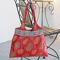 Embellished shoulder bag, 'Crimson Kantio' - Embellished shoulder bag