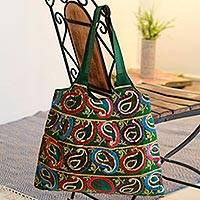 Embellished shoulder bag, 'Rainbow Paisley' - Embellished Shoulder Bag