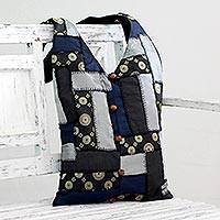 Patchwork shoulder bag, 'Golden Constellations' - Patchwork shoulder bag