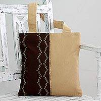 Tote bag, 'Opposites Harmonize' - Faux Suede Buff/Brown Tote Handbag