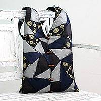 Patchwork shoulder bag, 'Golden Triangular Constellations' - Patchwork shoulder bag