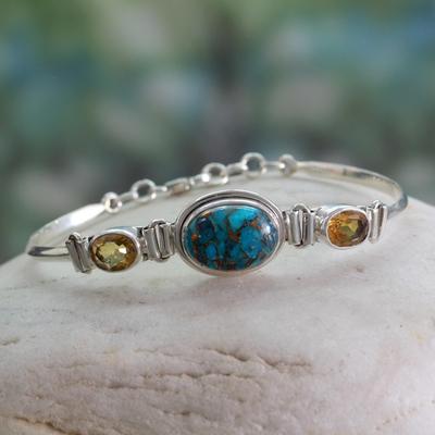 Citrine link bracelet, 'Mumbai Glam' - Artisan Crafted Silver Bracelet with Citrine India Jewelry