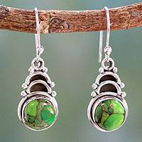 Sterling silver dangle earrings, 'Forest Hope' - Handcrafted Earrings with Comp Turquoise and Silver