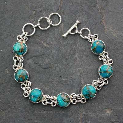 Sterling Silver Link Bracelet Sky Paths And Comp Turquoise From