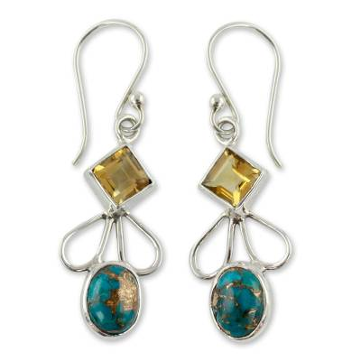 Citrine Comp Turquoise and Silver Artisan Crafted Earrings