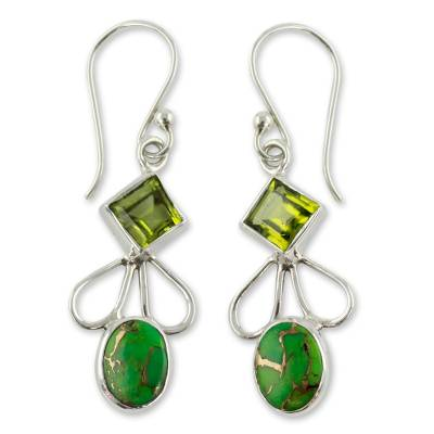 Peridot Comp Turquoise and Silver Artisan Crafted Earrings