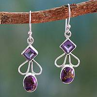 Amethyst dangle earrings, 'Bollywood Purple'