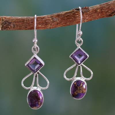Amethyst dangle earrings, 'Bollywood Purple' - Amethyst Comp Turquoise and Silver Artisan Crafted Earrings