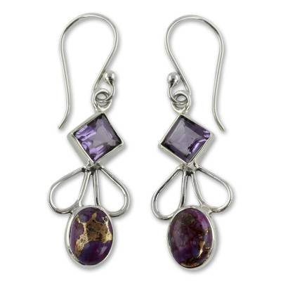 Amethyst Comp Turquoise and Silver Artisan Crafted Earrings