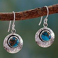Sterling silver dangle earrings, 'Friendship Moons' - Fair Trade Silver and Turquoise Dangle Earrings from India