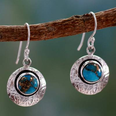 Sterling silver dangle earrings, 'Friendship Moons' - Sterling Silver and Comp Turquoise Artisan Crafted Earrings