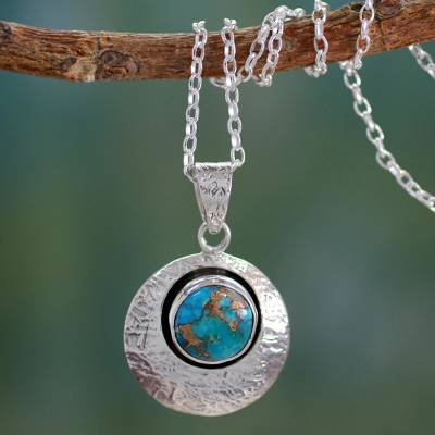 Sterling silver pendant necklace, 'Friendship Moon' - Sterling Silver and Comp Turquoise Artisan Crafted Necklace