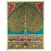 Madhubani painting, 'One with Nature II' - Indian Tree of Life Traditional Painting on Handmade Paper