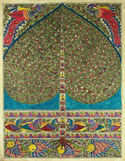 Indian Tree of Life Traditional Painting on Handmade Paper