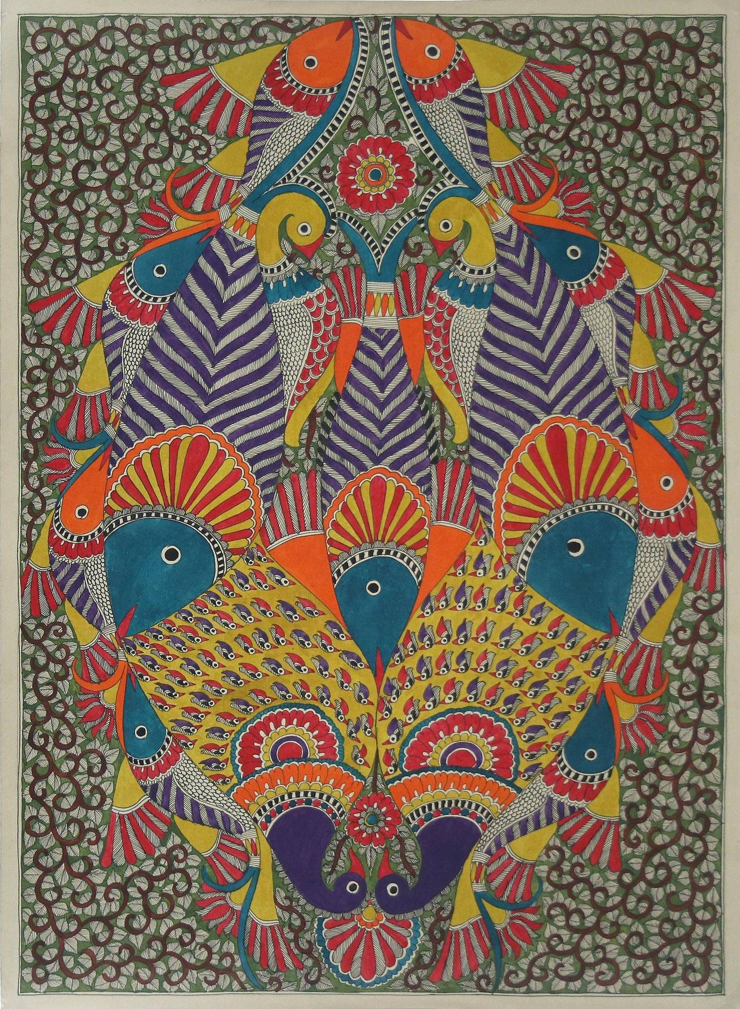 Unicef Uk Market Authentic Madhubani Painting Fish And