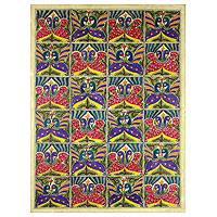 Madhubani painting, 'Bird Lovers' - Authentic Madhubani Painting Lovebirds