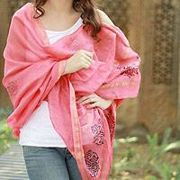 Cotton and silk shawl, 'Honeysuckle Splendor' - Peach Silk and Cotton India Block Print Shawl