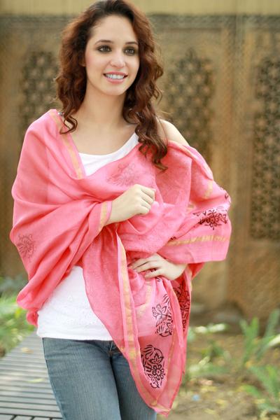 Cotton and silk shawl, 'Honeysuckle Splendor' - Peach Silk and Cotton India Block Print Shawl