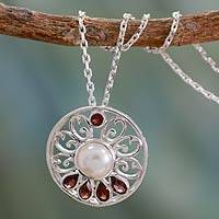 Cultured pearl and garnet necklace, 'Bihar Blossom' - Hand Crafted Pearl and Garnet Necklace