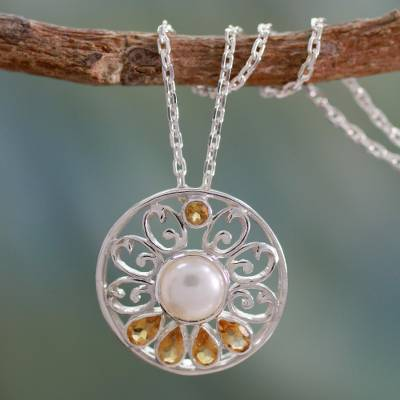 Cultured pearl and citrine necklace, 'Bihar Blossom' - Handcrafted Pearl and Citrine Necklace