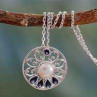 Cultured pearl and Iolite necklace, 'Bihar Blossom' - Hand Made Pearl and Iolite Necklace