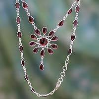 Garnet Y necklace, 'Crimson Allure' - Garnet Floral Y Necklace from India