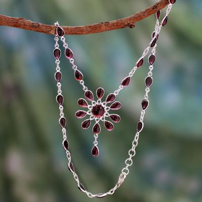 Garnet Y necklace, 'Crimson Allure' - Garnet Floral Y Necklace from India