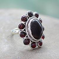 Garnet cocktail ring, 'Scarlet Petals' - Unique Sterling Silver and Garnet Ring from India