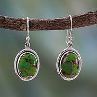 Sterling silver dangle earrings, 'Rajasthan Secret' - India jewellery Silver and Green Comp Turquoise Earrings